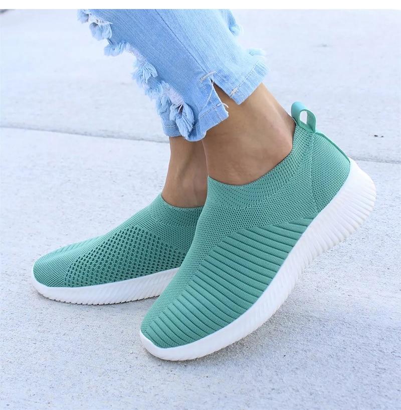 Women Shoes Factory Direct Flyknit Sneakers Women Plus Size Gym Shoes Flat Women Casual Shoes Vulcanized Walking Basket Sneakers