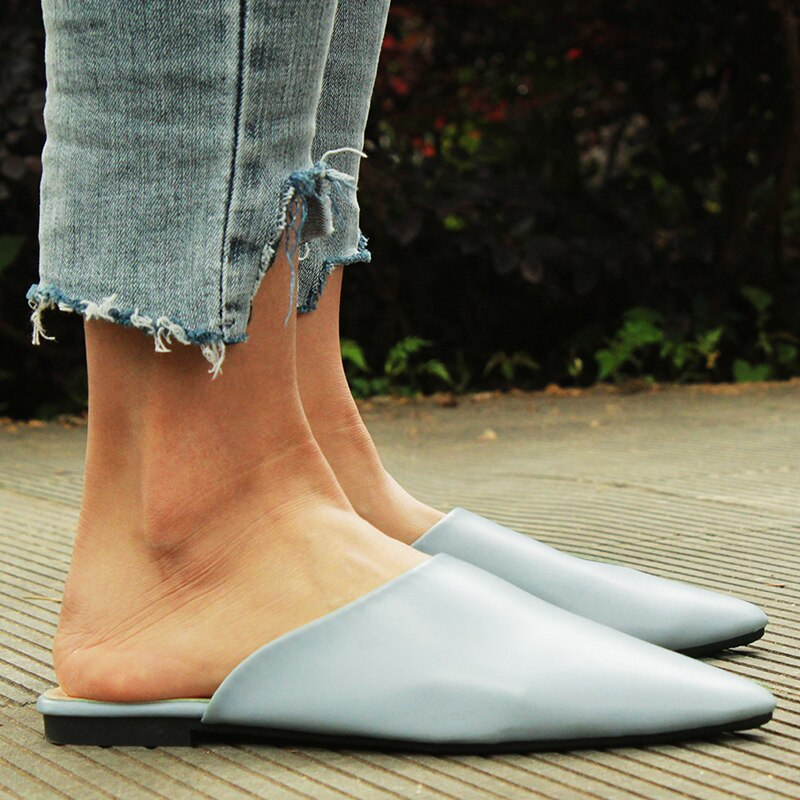 Summer Flats Mules Lady Sandals Slippers Slip On Pointed Toe Women Mules Outdoor Slipper Shoes Woman Slides
