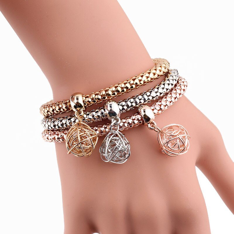 New 3Pcs/Set Zircon Gold Silver Charm Bracelet Elastic Corn Fashion Crystal Bracelet Bangles Women Jewelry DIY Fine Party Gift