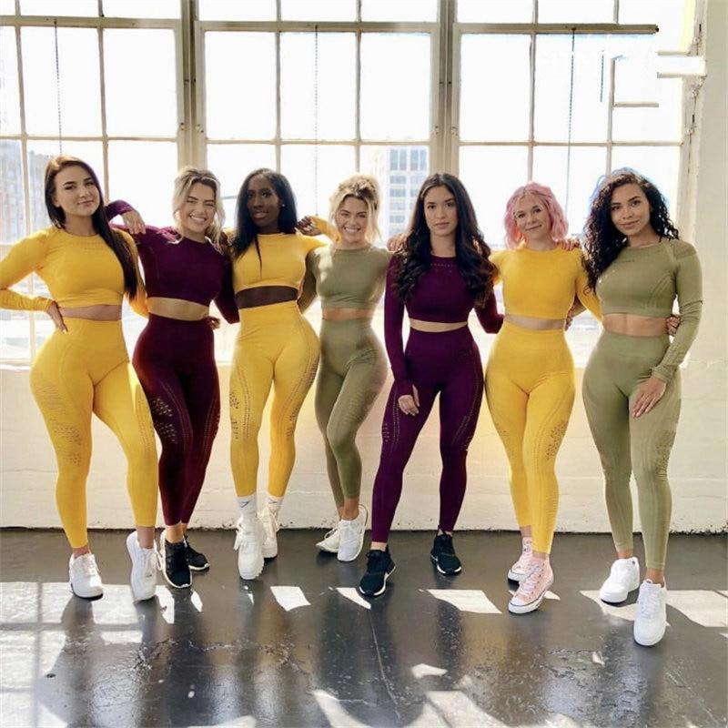 Women Eyelet Flawless Knit Yoga Sets High Waist Gym Mesh Leggings Long Sleeve Workout Sport Running Sportswear Yoga Sets