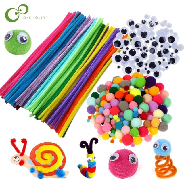 Plush Stick / Pompoms Rainbow Colors Shilly-Stick Educational DIY Toys Handmade Art Craft Creativity Devoloping Toys GYH