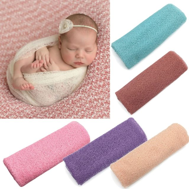 8 color Newborn Photography Props Baby Wraps Photo Shooting Accessories Photograph Studio Blanket Backdrop Lace Elastic Fabric
