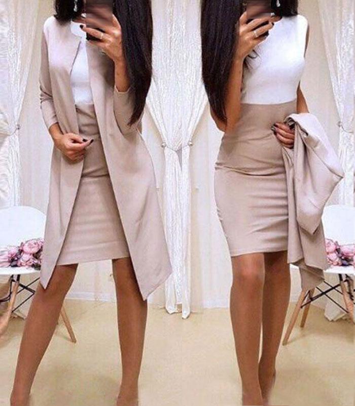 Long Blazer Jackets Sheath O-Neck Mini Dress Sexy Formal Dress Suits Women office wear 2 Piece Female Sets vestido formal mujer