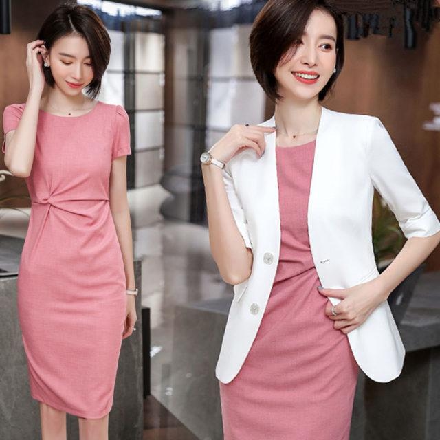 Pink Formal Dress Blazer Women Dresses with Jacket Women's  Dress Suit Set Office Wear Work for Ladies Evening Elegant Costumes