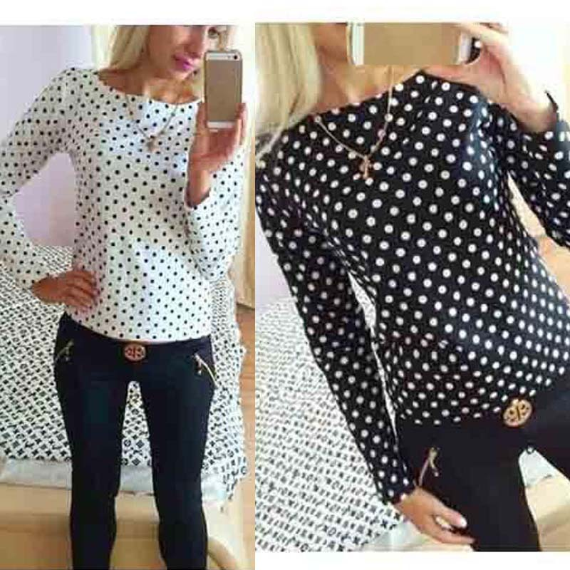 Autumn Women Bodycon Long Sleeve Polka Dot Casual Top Blouse Chiffon Shirt Tee